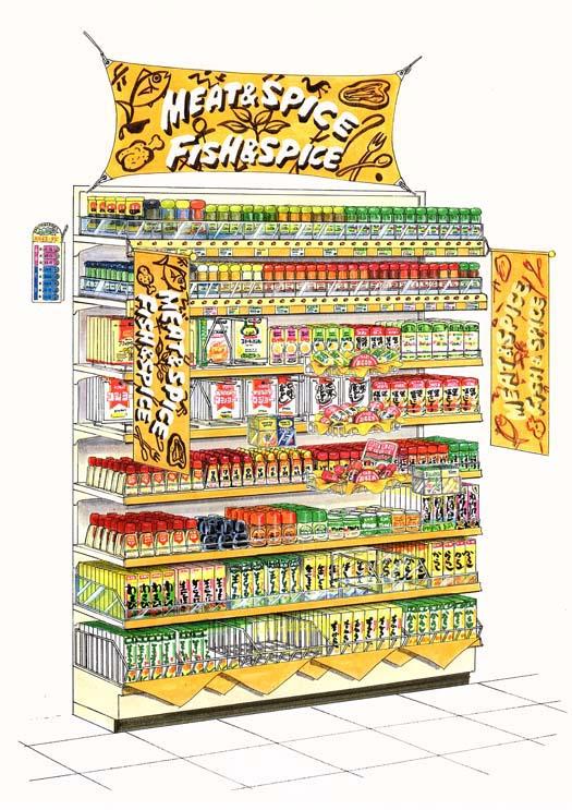 エスビー食品 スパイス売場(エンド展開)